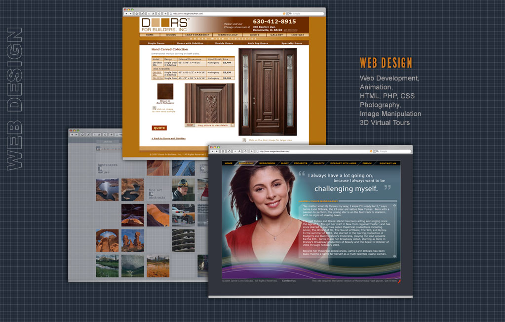 Web Design & Development, Search Engine Optimization (SEO), HTML, PHP, Javascript, Flash Animation